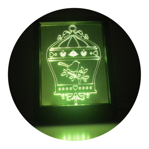 Bird Cage with Fleur de lis Colour Changing RC LED Mirror Light Frame - Suave Petal