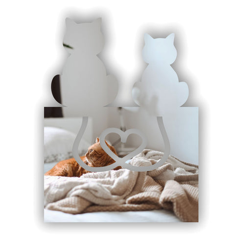 Love Heart Tail 2 Cats Acrylic Mirror