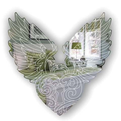 Angel Wings and Heart Engraved Acrylic Mirror
