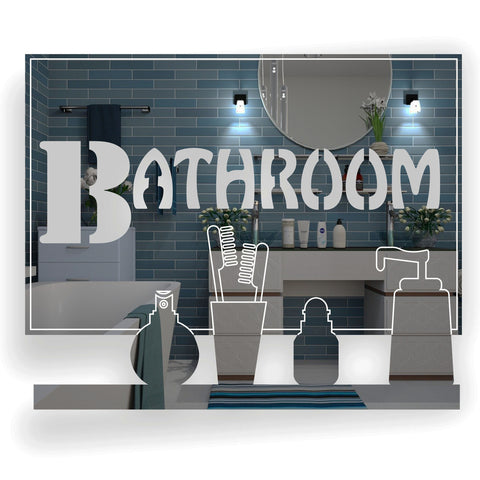 Bathroom Vanity Shelf Acrylic Mirrored Door Sign