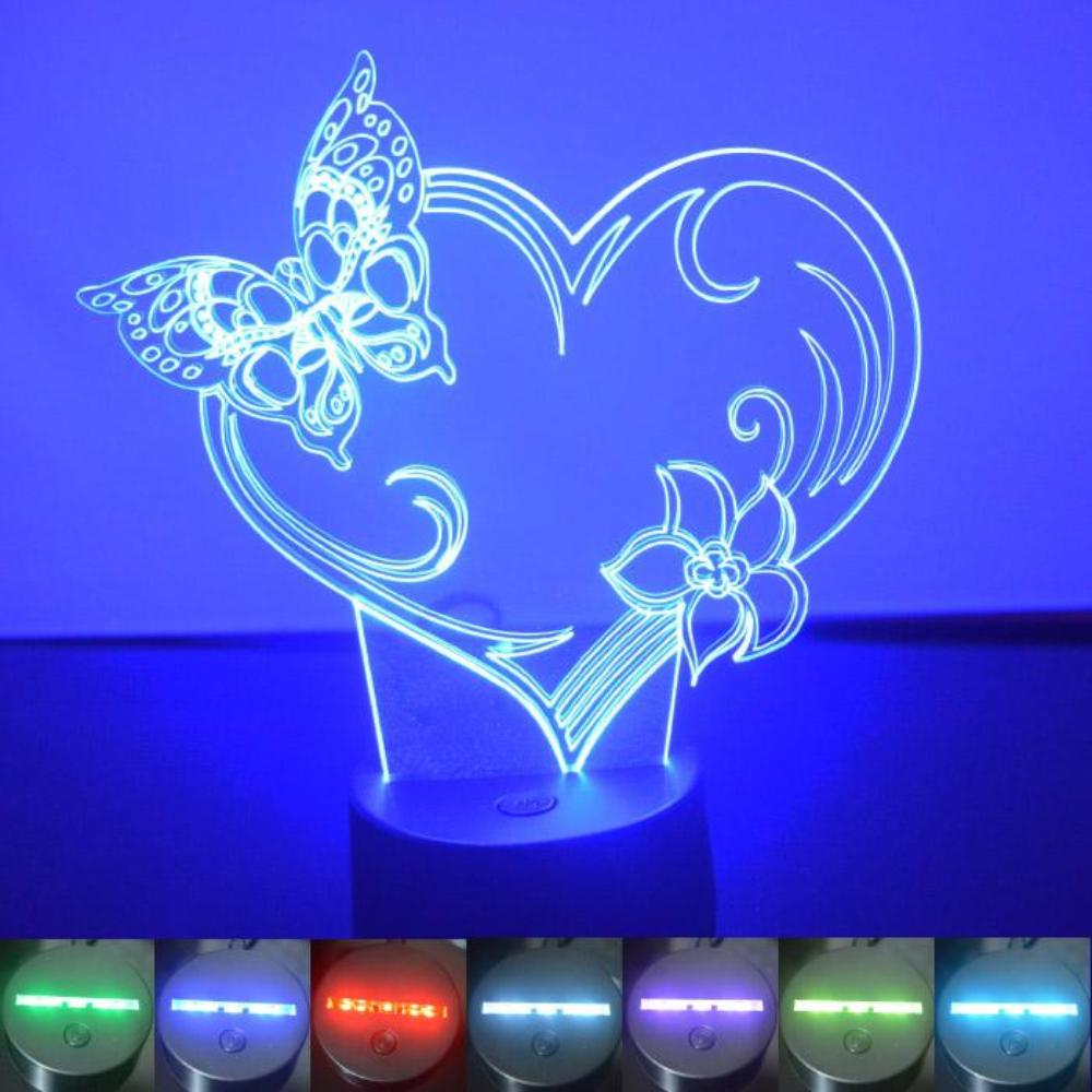 Butterfly Heart and Flower Colour Changing LED Acrylic Light