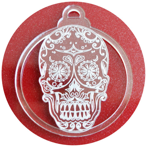 6 PK Day of the Dead Candy Skull Acrylic Christmas Decorations