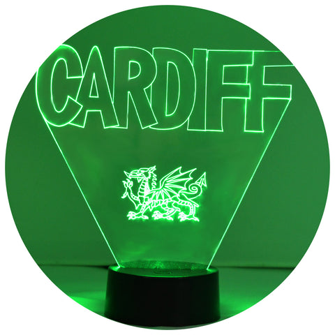 Cardiff & Welsh Dragon Colour Changing LED Acrylic Light