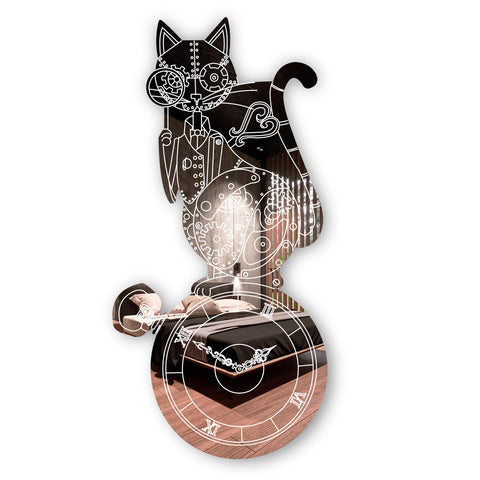 Steampunk Engraved Cat & Pocket Watch Acrylic Mirror