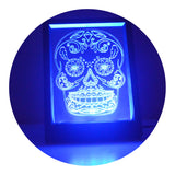 Day of the Dead Cheeky Candy Skull Changing RC LED Mirror Light Frame - Suave Petal