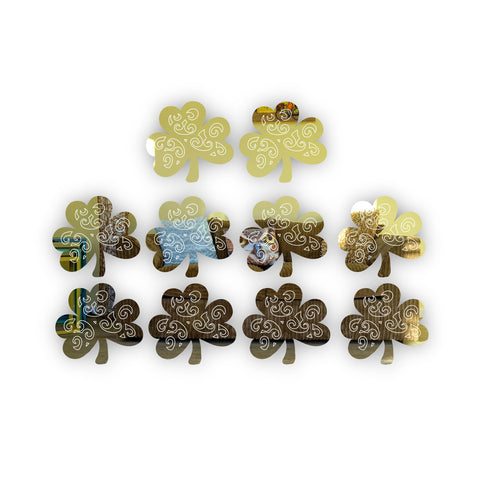4cm Decorative Irish Shamrock Mini Craft Sized Acrylic Mirrors (10Pk)