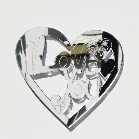 I LOVE YOU Engraved Heart Acrylic Mirror - Suave Petal
