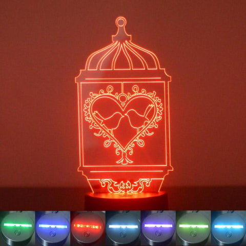 Bird Cage Heart and 2 Birds Colour Changing LED Acrylic Light - Suave Petal