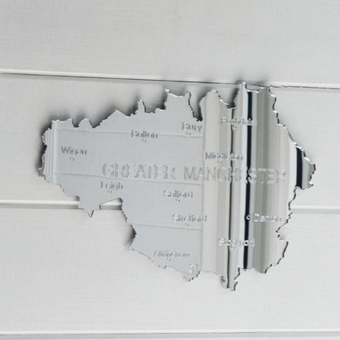 County Map of GREATER MANCHESTER UK Engraved Acrylic Mirror - Suave Petal