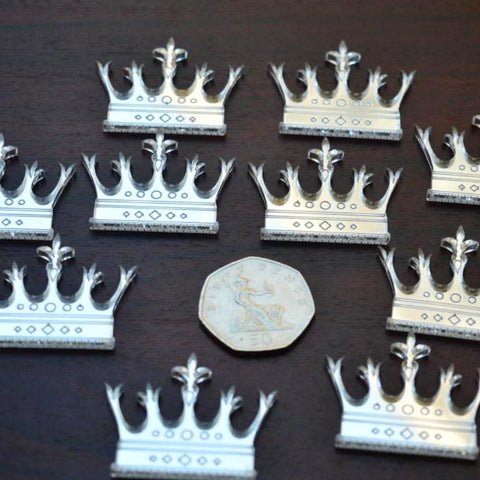 Fleur De Lis Tipped Crown Mini Craft Sized Acrylic Mirrors (10Pk)