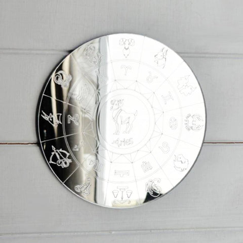 Zodiac Horoscope Circle Engraved Acrylic Mirror - Aries