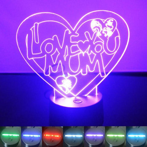 I Love You Mum Heart Colour Changing LED Acrylic Light - Suave Petal