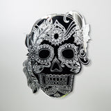 Girl Feather Candy Day of The Dead Candy Skull Acrylic Mirror - Suave Petal