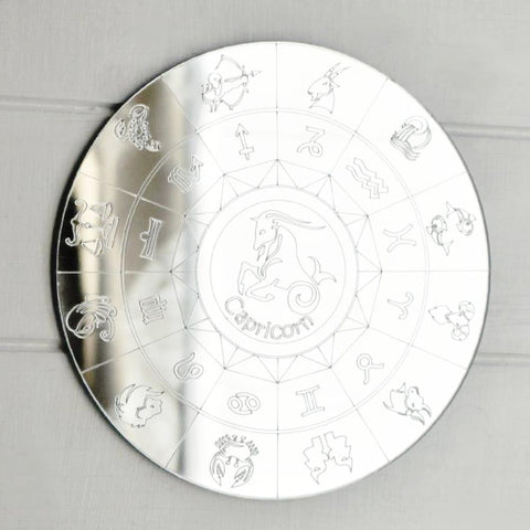 Zodiac Horoscope Circle Engraved Acrylic Mirror - Capricorn