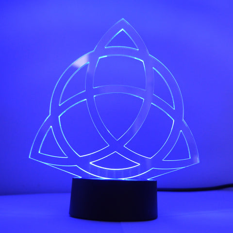 Triquetra Christian Trinity Knot Colour Changing LED Mini Acrylic Light - Suave Petal
