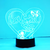I Love You Sis Heart Colour Changing LED Acrylic Light - Suave Petal