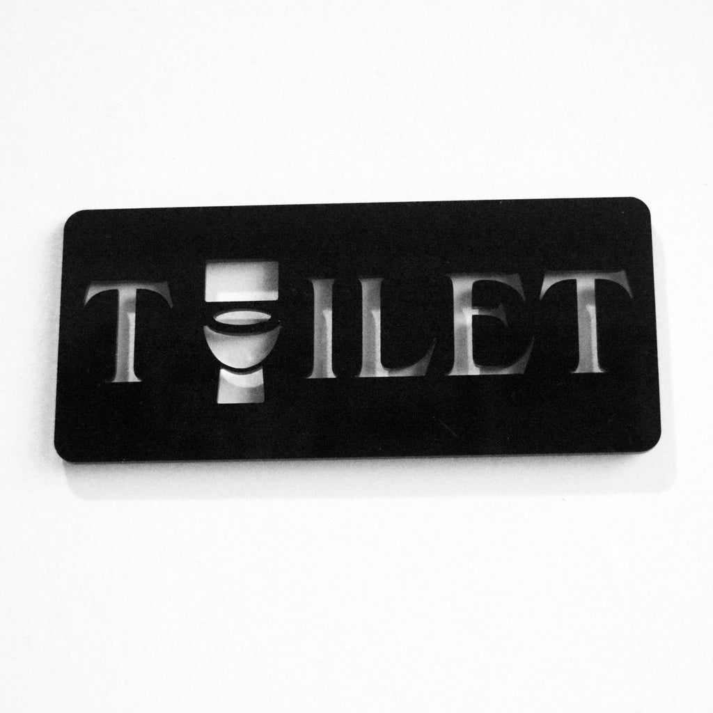 TOILET Unique Missing 'O' Loo Lavatory Acrylic Black Door Sign - Suave Petal