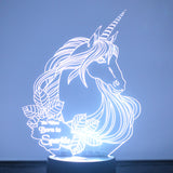 Unicorn Head with Sparkle Quote LED Acrylic Light - Suave Petal
