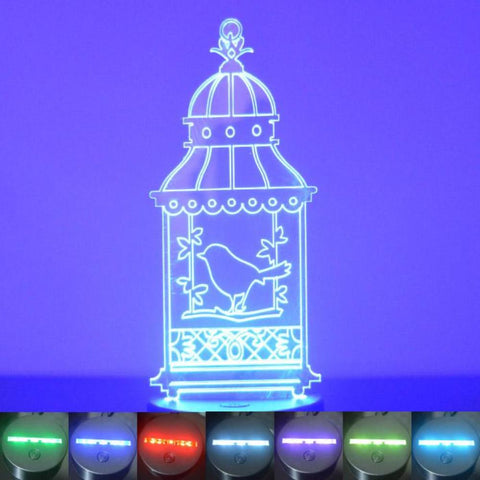 Bird Cage with Single Bird Colour Changing LED Acrylic Light - Suave Petal