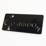 Cloakroom Acrylic Black Door Sign - Suave Petal
