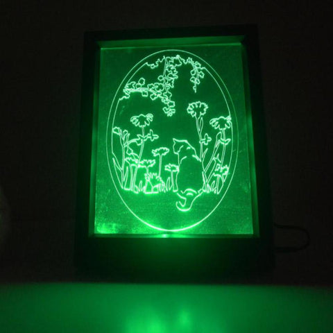Oval Flower Garden Cat Colour Changing Remote Control LED Light Frame - Suave Petal