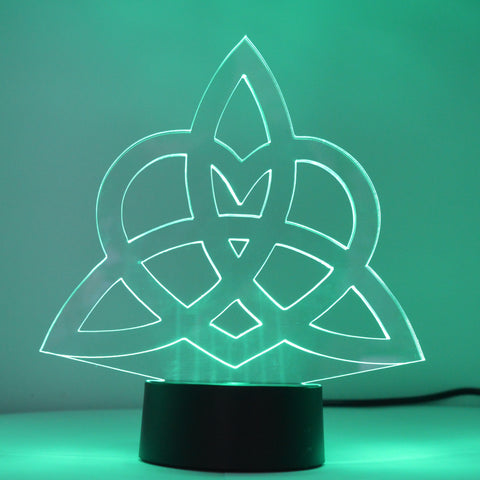 Triquetra Eternity Love Heart Knot Colour Changing LED Mini Acrylic Light - Suave Petal