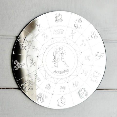 Zodiac Horoscope Circle Engraved Acrylic Mirror - Aquarius