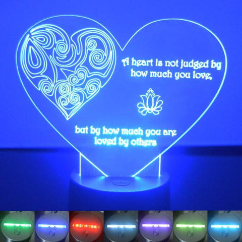 Judged Heart Quote Colour Changing LED Acrylic Light - Suave Petal
