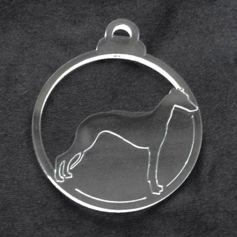 Dog Bauble Clear Acrylic Christmas Decorations 6pk - Whippet - Suave Petal