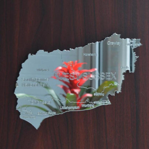 County Map of 'West Sussex' UK Engraved Acrylic Mirror - Suave Petal