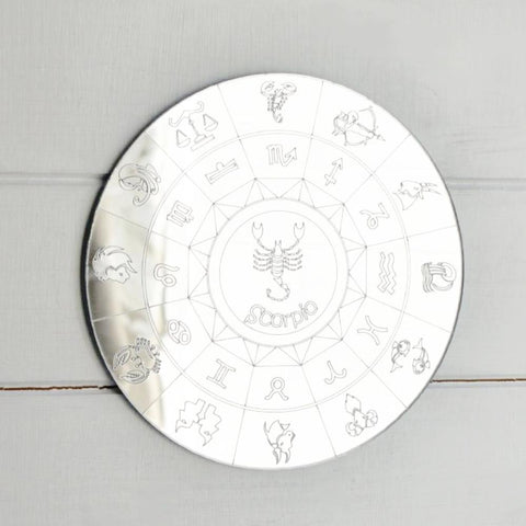 Zodiac Horoscope Circle Engraved Acrylic Mirror - Scorpio
