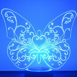 Floral Heart Butterfly LED Acrylic Light - Suave Petal