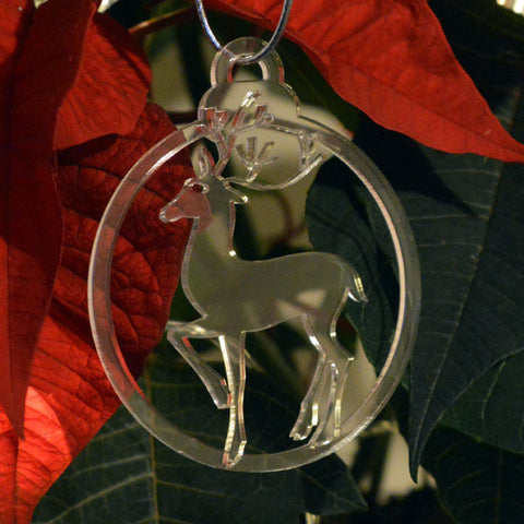 6 Pk Engraved Stag Reindeer Acrylic Christmas Decorations - Suave Petal