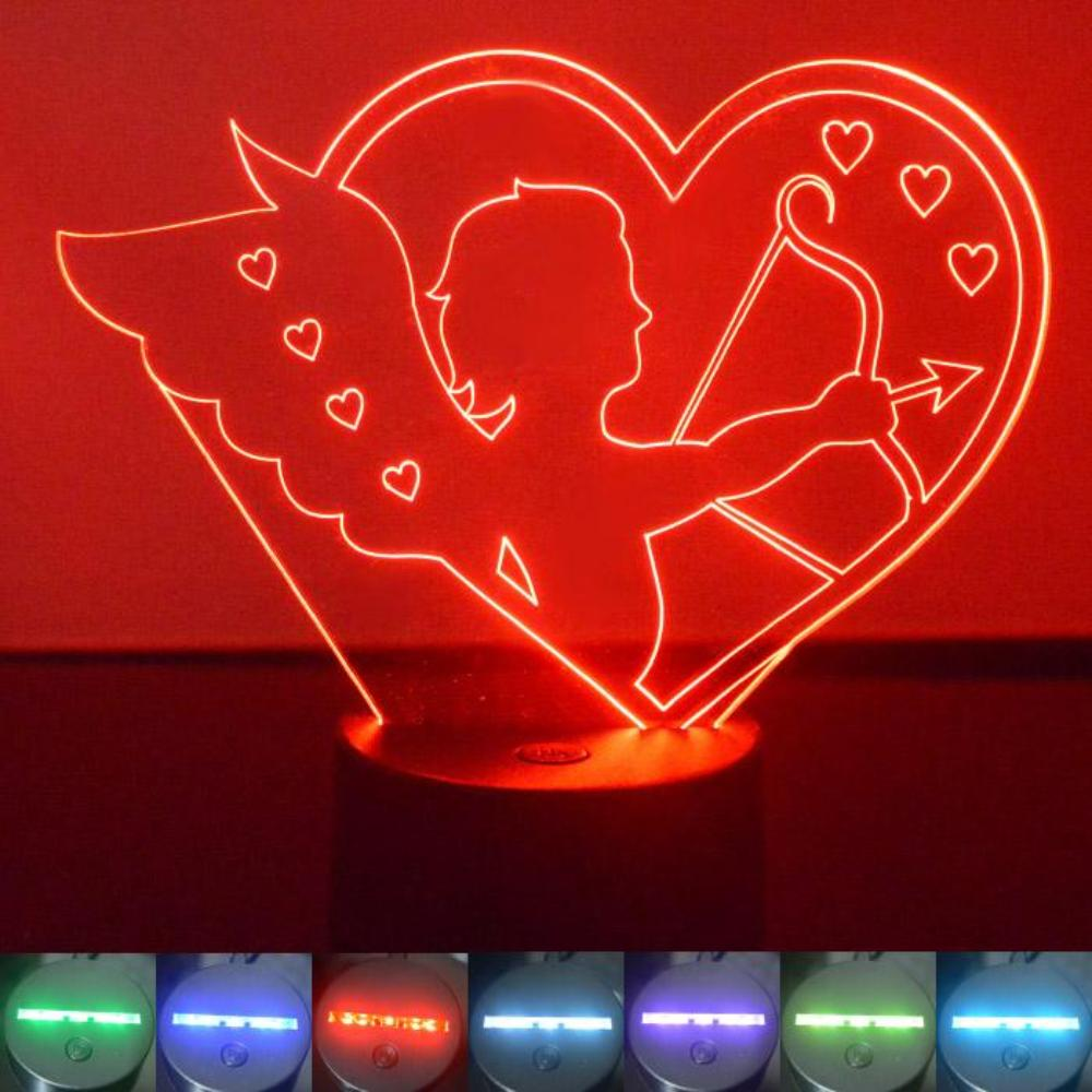 Cupid and Bow Love Heart Colour Changing LED Acrylic Light - Suave Petal