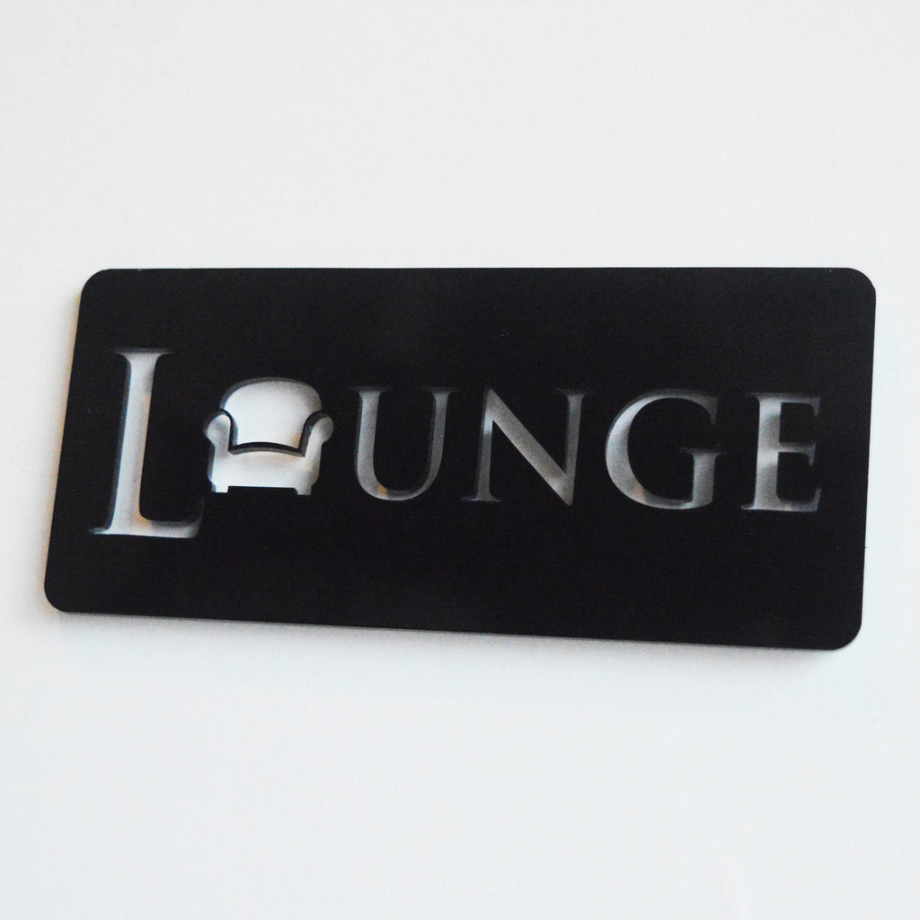 Lounge / Living Room Chair Acrylic Black Door Sign - Suave Petal