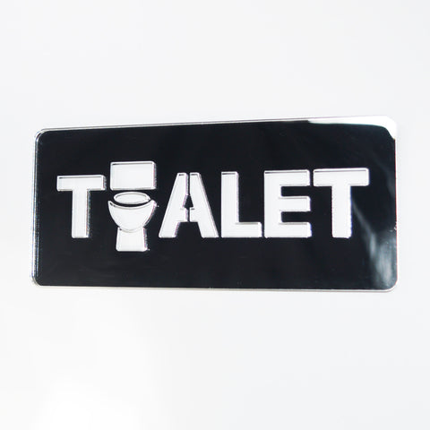 BOSNIAN Toilet TOALET Unique Missing 'O' Acrylic Mirrored Door Sign - Suave Petal