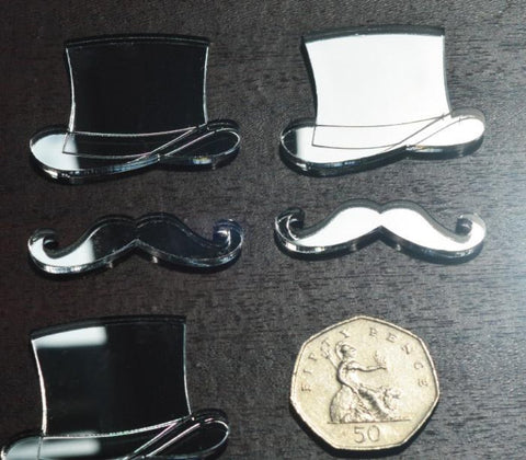 Top Hat and Moustache Mini Craft Sized Acrylic Mirrors (10Pk) - Suave Petal