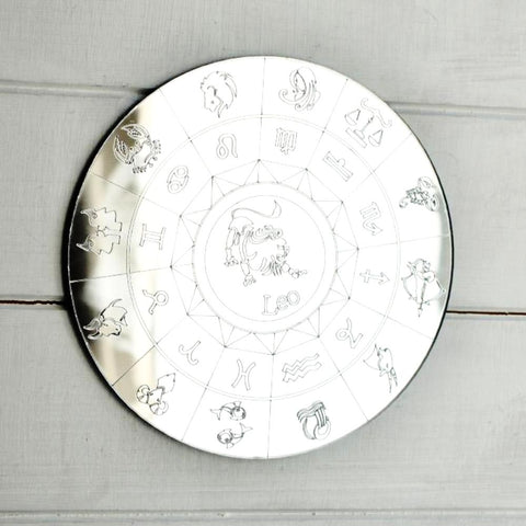 Zodiac Horoscope Circle Engraved Acrylic Mirror - Leo