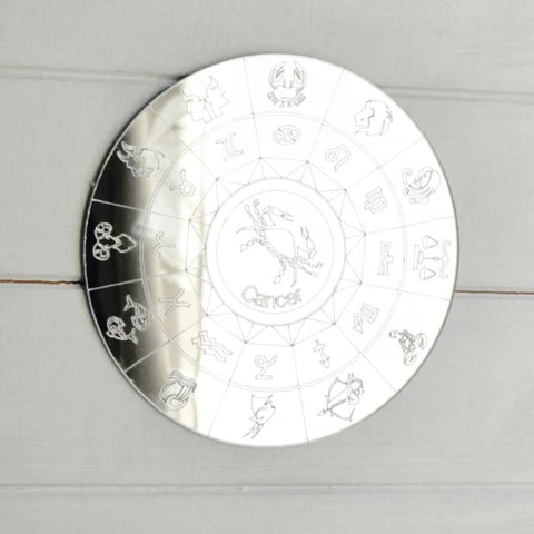 Zodiac Horoscope Circle Engraved Acrylic Mirror - Cancer - Suave Petal