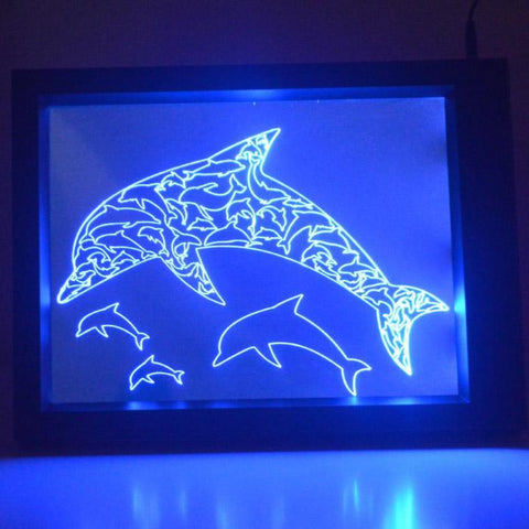 Dolphins Colour Changing RC LED Mirror Light Frame - Suave Petal
