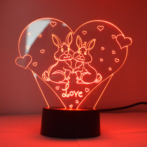 Love Bunnies on Heart Colour Changing LED Mini Acrylic Light - Suave Petal