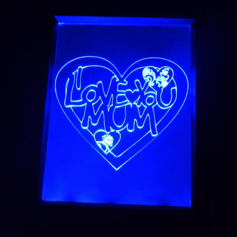 I Love You MUM Heart Colour Changing RC LED Mirror Light Frame - Suave Petal