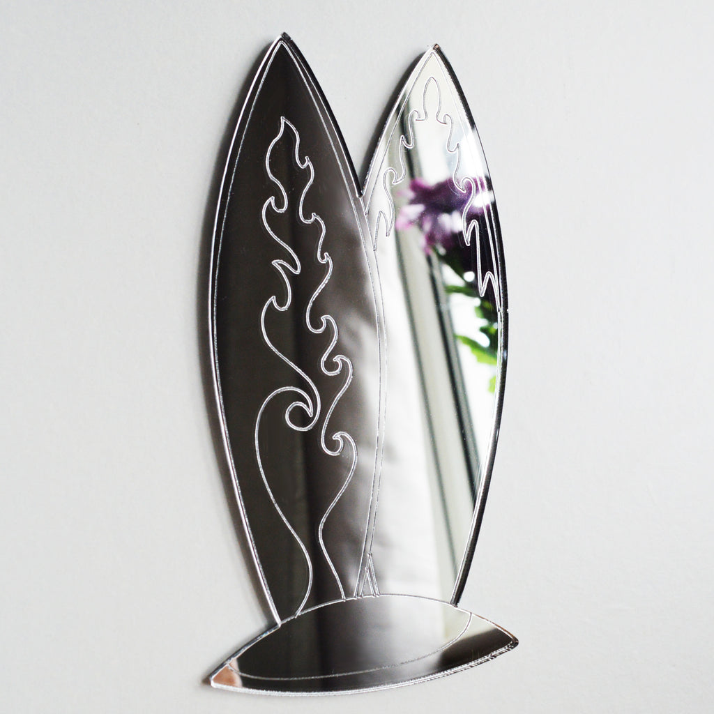Two Firey Surfboards in Sand Hill Acrylic Mirror - Suave Petal