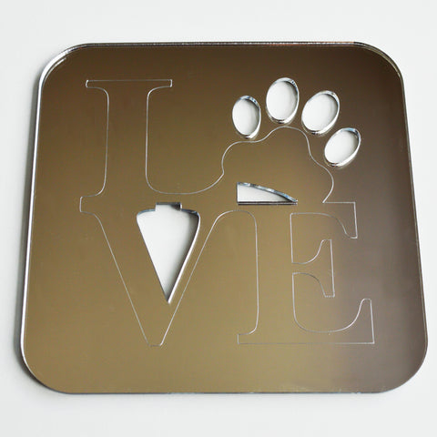 Love Word and Paw Print Square Acrylic Mirror - Suave Petal