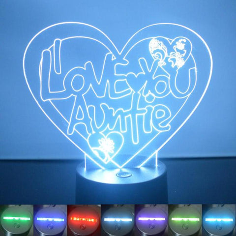 I Love You Auntie Heart Colour Changing LED Acrylic Light - Suave Petal