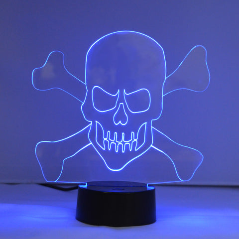 Skull and Crossbones Colour Changing LED Acrylic Light - Suave Petal