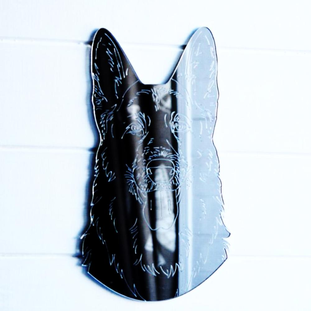 German Shepherd Dog Engraved Head Acrylic Mirror - Suave Petal