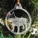 Dog Bauble Clear Acrylic Christmas Decorations 6pk - Bull Terrier - Suave Petal