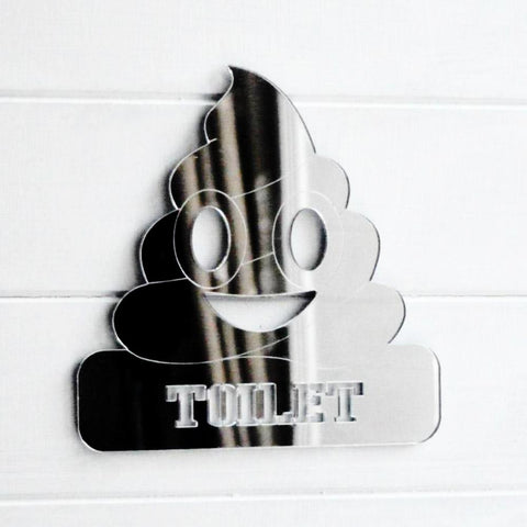 Toilet Poop Emoji Acrylic Mirrored Door Sign