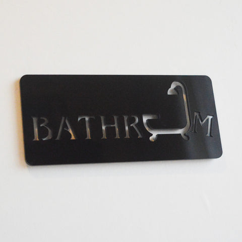 Bathroom & Shower Acrylic Black Door Sign - Suave Petal